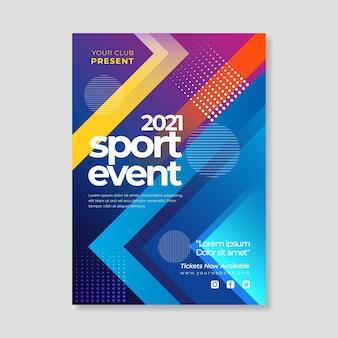 2021 poster di eventi sportivi con forme geometriche