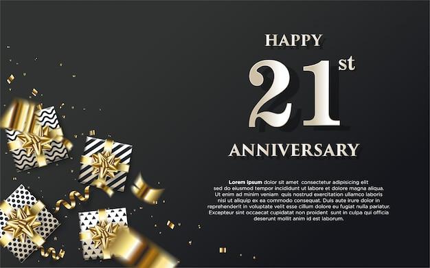 21 ° anniversario con illustrazioni di scatole regalo e numeri bianchi.