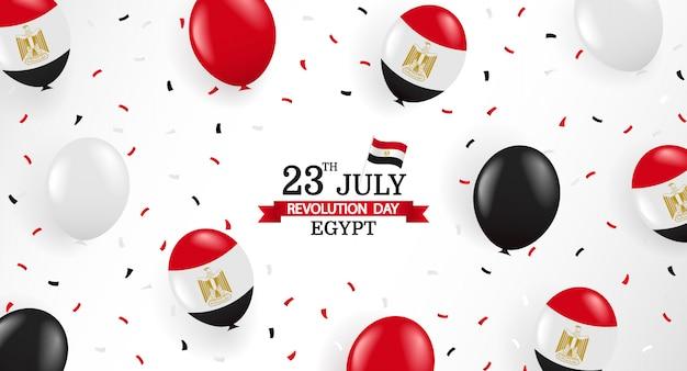 23 luglio, giorno della rivoluzione in egitto. biglietto di auguri con palloncini e coriandoli.
