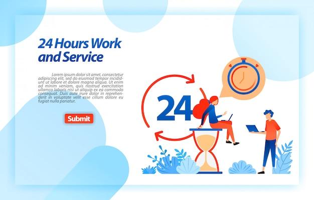 24 ore di lavoro al servizio clienti per aiutare gli utenti a ottenere migliori informazioni e servizi sempre e ovunque. modello web della pagina di destinazione