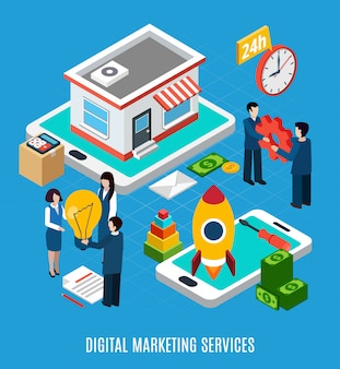 24 ore di servizi di marketing digitale online sull'illustrazione blu 3d