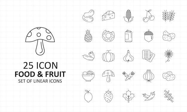 25 icone di cibo e frutta foglio pixel icone perfette
