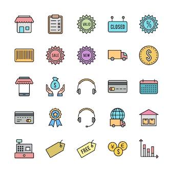 25 set di icone di commercio elettronico isolate