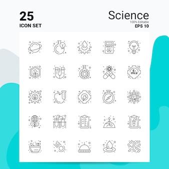 25 set di icone di scienza business logo concept ideas line icona