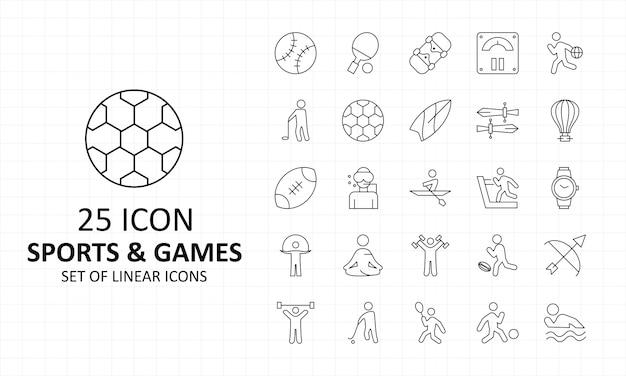 25 sport e giochi icona foglio pixel icone perfette
