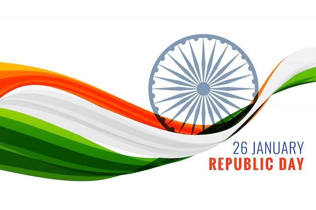 26 gennaio bandiera felice giorno della repubblica con bandiera indiana