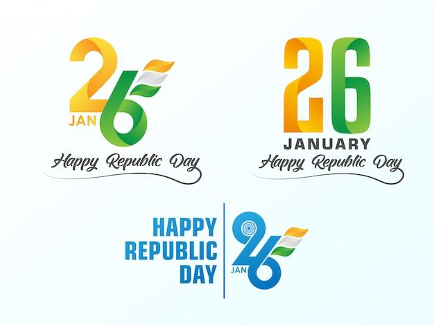 26 gennaio logo simbolo per la festa della repubblica indiana