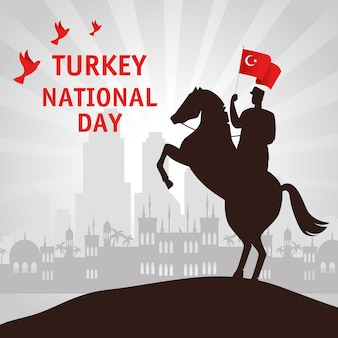 29 ottobre festa della repubblica turchia e militari a cavallo con bandiera