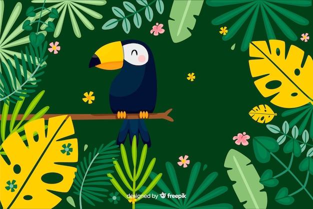 2d foglie tropicali e uccelli sfondo