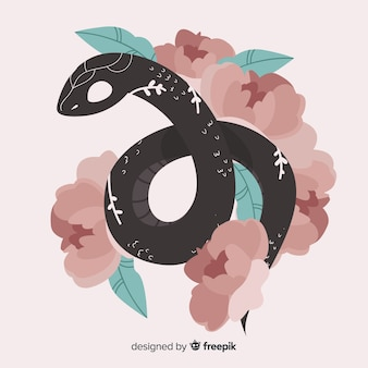 2d serpente con fiori