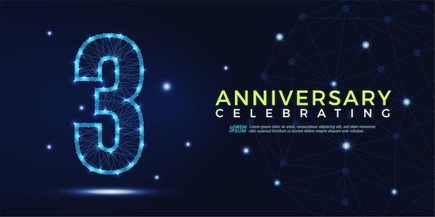 3 anni anniversario celebrando numeri astratti poligonali