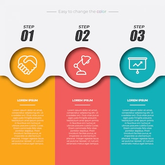 3 elementi infographic rettangolari colorati