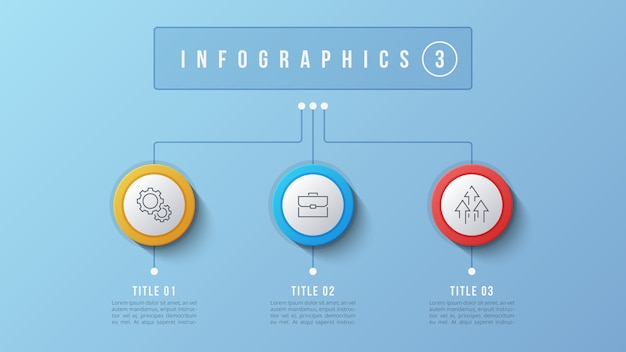 3 opzioni infografica design, diagramma struttura, presentati