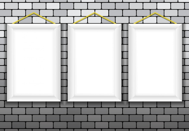 3a cornice vuota, muro di mattoni 3d