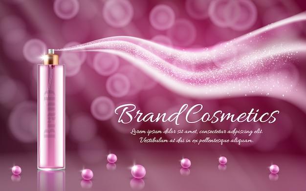 3d annuncio realistico, banner cosmetico di promozione di essenza, mock up con spray di vetro e onda