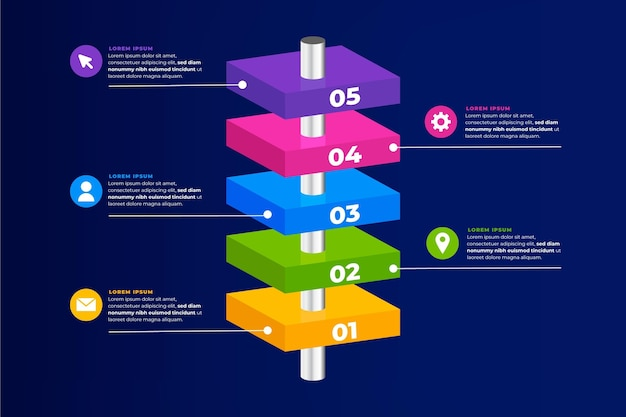 3d blocchi di blocchi infografica