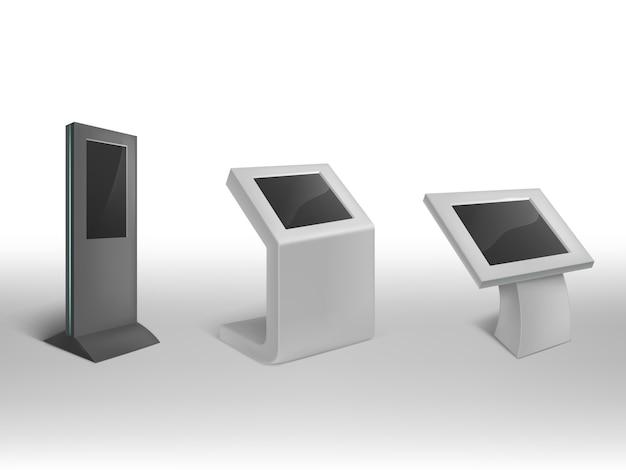 3d chioschi di informazioni digitali realistici. segnaletica digitale interattiva, stand