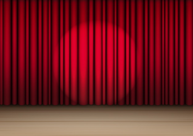 3d deridono sulla tenda rossa realistica sulla fase o sul cinema di legno per lo spettacolo, il concerto o la presentazione con il vettore dell'illustrazione del fondo del riflettore