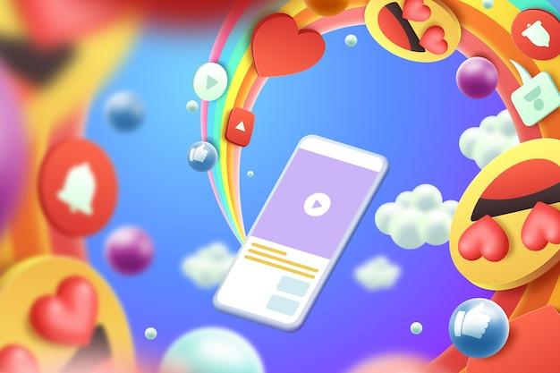 3d emoji colorati stile di sfondo