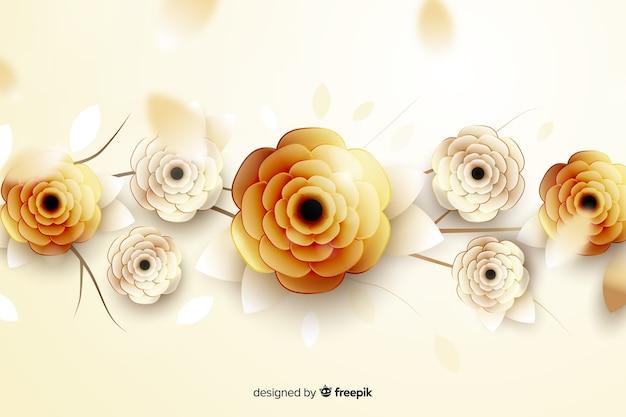 3d fiori d'oro sullo sfondo