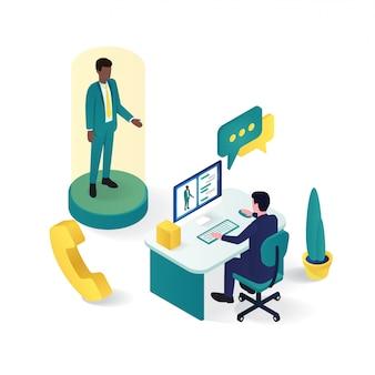 3d isometrico dell'assistenza clienti online