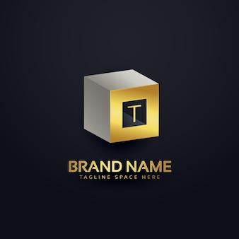 3d lettera t logo modello di progettazione