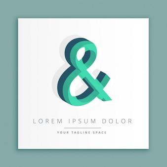 3d logo stile astratto con il simbolo di e commerciale