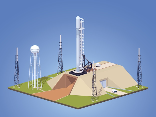 3d lowpoly isometrico razzo spaziale moderno sulla rampa di lancio