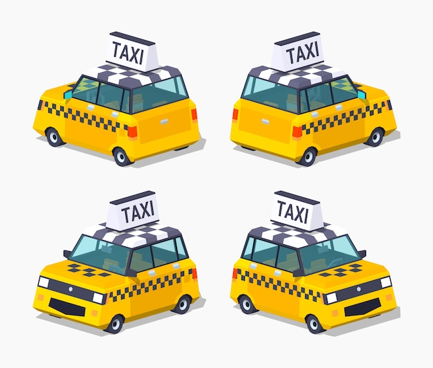 3d lowpoly isometrico taxi hatchback giallo