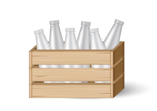 3d mock up casse di legno realistico o scatola con bottiglia di latte