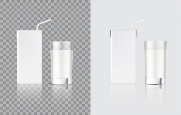 3d mock up realistic latte scatola di cartone e vetro per alimenti e bevande confezione del prodotto