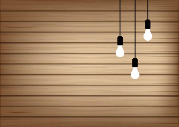 3d mock up realistico legno e luce della lampada