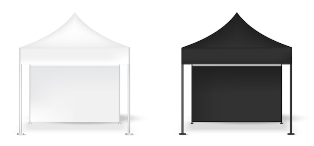 3d mock up realistico tenda display parete pop stand fiera