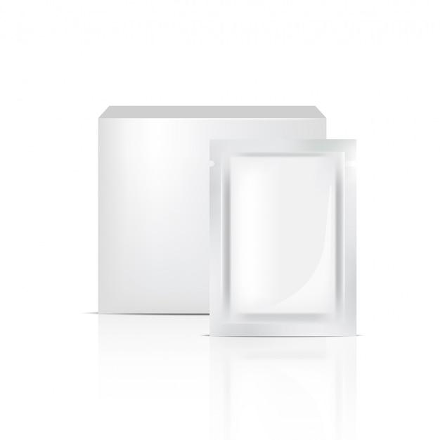 3d mock up sachet realistico e scatola per l'imballaggio del prodotto cosmetico