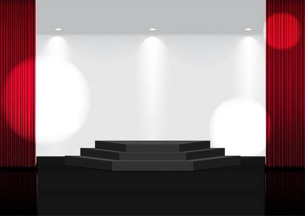 3d mock up tenda rossa aperta realistica sul palco o cinema per spettacolo