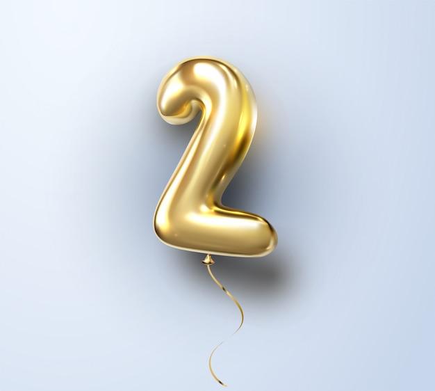 3d realistico isolato con numero due, 2, palloncino d'oro all'elio per la tua decorazione di design, festa, compleanno, pubblicità
