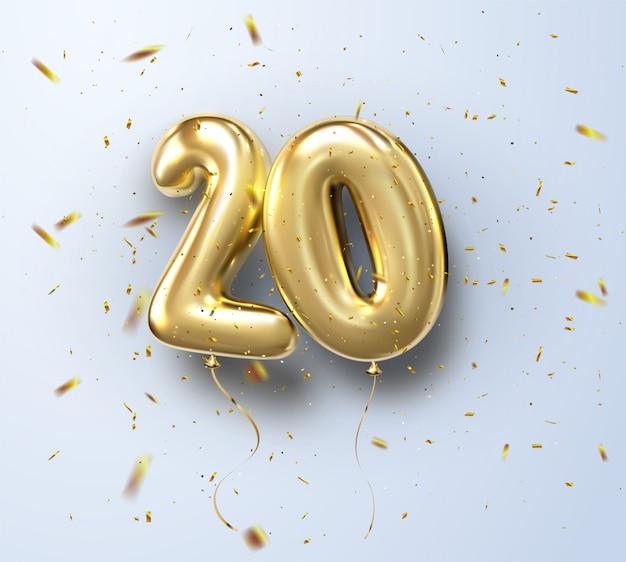 3d realistico isolato con numero venti, 20, palloncini di elio d'oro per la decorazione di design, festa, compleanno, pubblicità