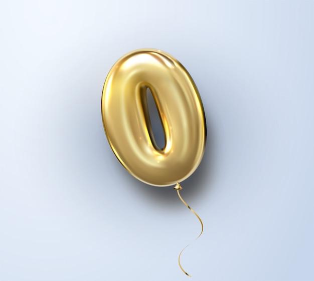 3d realistico isolato numero zero 0 o lettera o, palloncino d'oro elio per la decorazione di design, festa, compleanno, pubblicità