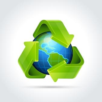 3d ricicla l'icona delle frecce e l'illustrazione di vettore del globo della terra