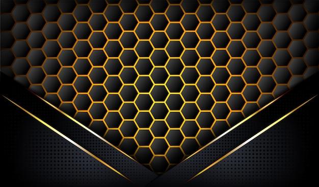 3d si sovrappongono sullo sfondo con linee d'oro.