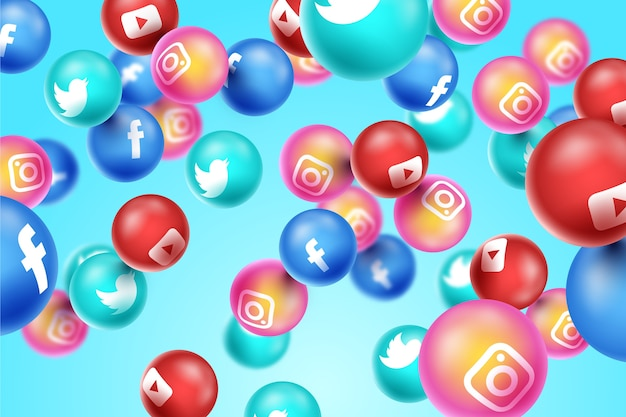 3d social media sullo sfondo