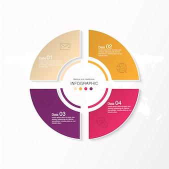 4 dati, infografica di base e icone per il concetto di business.