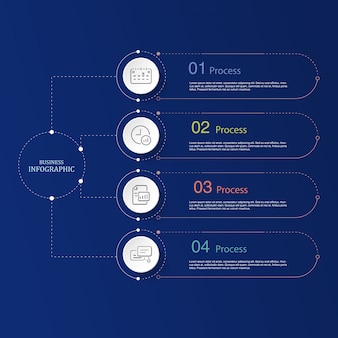 4 dati, linea infografica