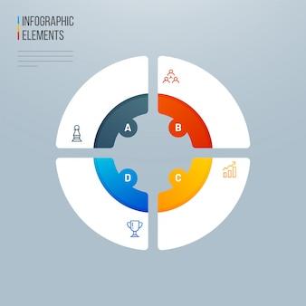 4 diversi livelli colorati elementi di infografica grafico a torta.