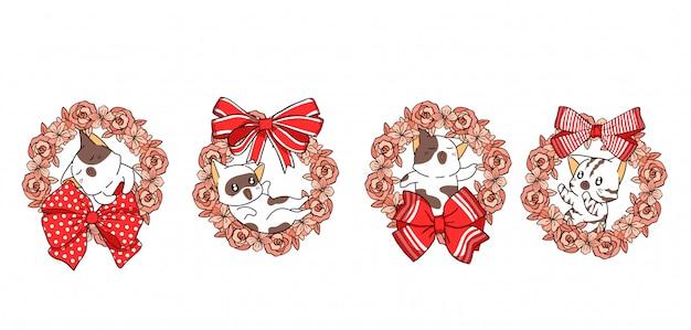 4 diversi personaggi di gatto in ghirlanda floreale con farfallino