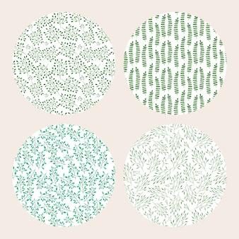 4 graziosi motivi botanici ad acquerello con foglie verdi