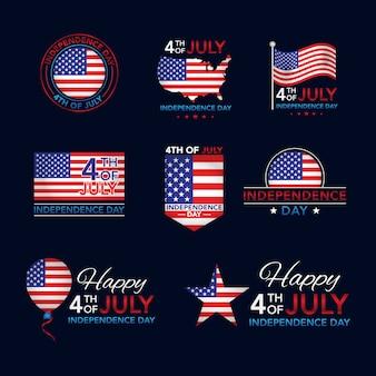 4 luglio collezione di badge independence day