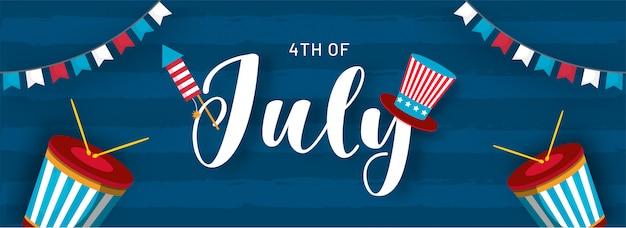 4 luglio design di intestazione o banner