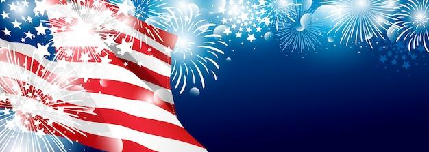 4 luglio disegno del fondo di giorno di indipendenza degli sua della bandiera americana con i fuochi d'artificio