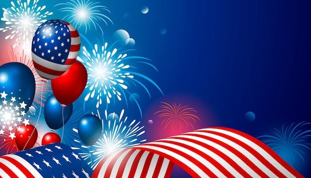 4 luglio disegno di festa dell'indipendenza usa della bandiera americana con fuochi d'artificio